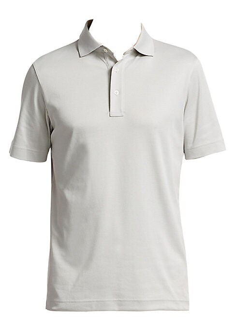 """Image of EXCLUSIVELY OURS. Casual knit polo in soft cotton-blend fabric. Polo collar. Short sleeves. Three-button placket. Vented hem. About 27"""" from shoulder to hem. Cotton/polyester. Machine wash. Imported."""