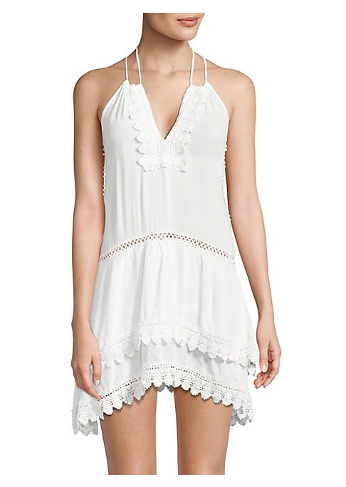 "Image of Airy lace trimmed dress with open knit trim. Halter V-neck. Sleeveless. Self-tie at back. Pullover style. About 33"" from shoulder to hem. Rayon. Hand wash. Imported. .Model shown is 5'10"" (177cm) wearing US size Small. ."