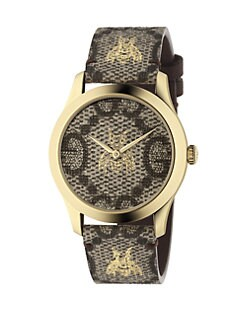 ce6865469 Product image. QUICK VIEW. Gucci. Embroidered Bee Goldtone Stainless Steel and  Leather Strap Watch