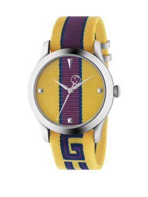 GUCCI G-Timeless Nylon Strap Watch, 37Mm, Yellow