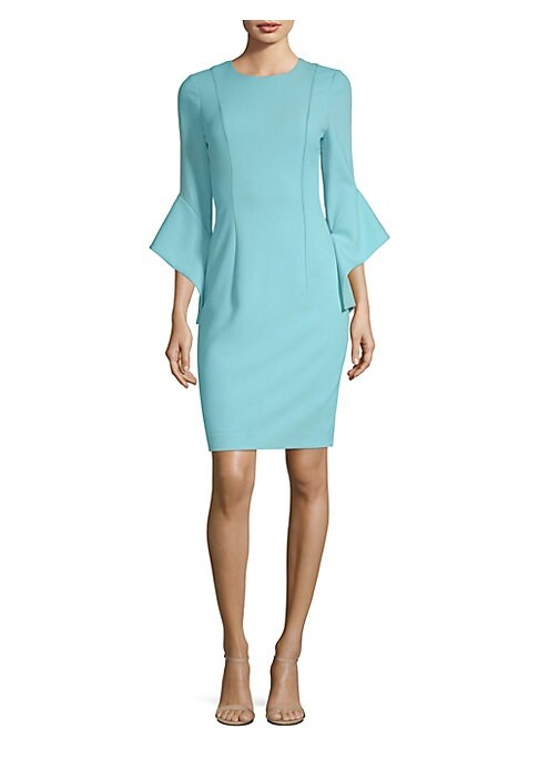 "Image of Bell sleeve dress with seamed detailing. Roundneck. Three-quarter bell sleeves. Concealed back zip closure. About 39"" from shoulder to hem. Polyamide/viscose/elastane. Dry clean. Made in USA. .Model shown is 5'10"" (177cm) wearing US size 4. ."