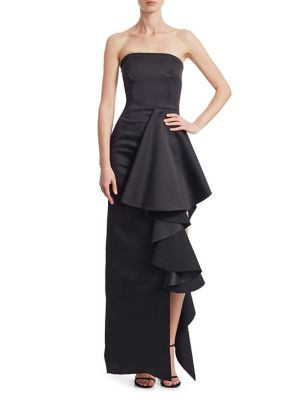 Solace London  Aryana Strapless Ruffle Gown