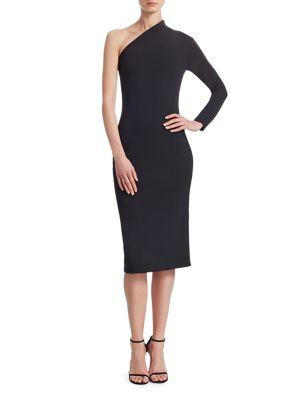 Ambre One-Shoulder Midi Dress, Black
