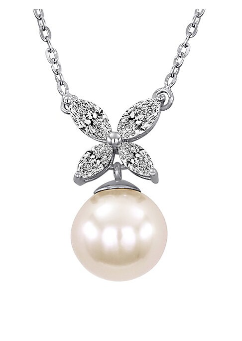 """Image of .A creamy white pearl and cubic-zirconia sparkle for garden-inspired glamour. .8mm white organic man-made pearl. .Cubic zirconia. .Sterling silver. .Length, about 15"""". .Lobster clasp. .Imported. ."""
