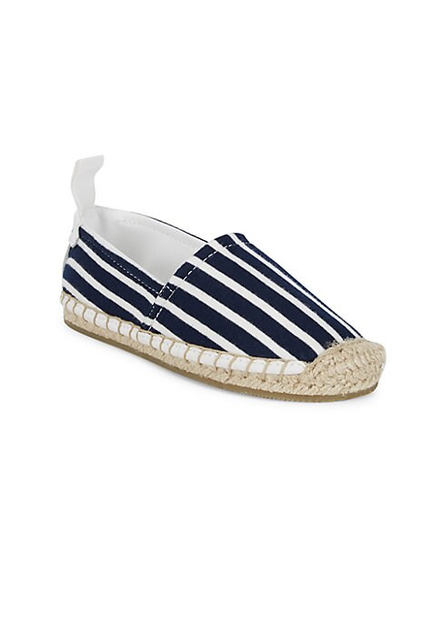 Image of Soft stripe jersey updates essential espadrilles. Cotton upper. Slip-on style. Round toe. Cotton lining. Jute and rubber sole. Imported.