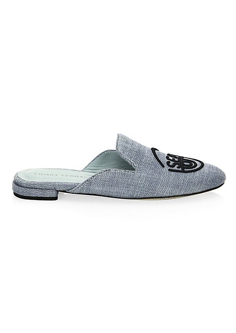 Image of Classic Sabot style slip-on shoes updated with a fabric upper and embroidered logo at toe. Cotton upper. Slip-on style. Round toe. Open heel. Leather sole. Made in Italy.