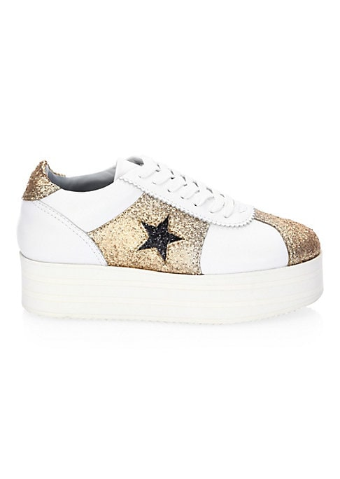 """Image of Classic low-top leather sneaker updated with platform sole and glitter star textures. Sole, 1.37"""" (35mm).Leather upper. Lace-up vamp. Round toe. Glitter star cut-outs. Leather lining. Rubber sole. Made in Italy."""