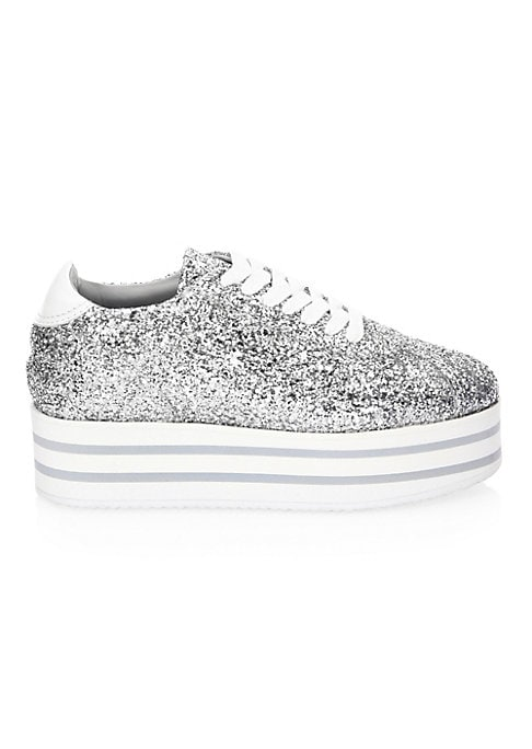 """Image of Classic low-top leather sneaker updated with platform sole and glitter textures. Sole, 1.37"""" (35mm).Glitter Leather upper. Lace-up vamp. Round toe. Leather lining. Rubber sole. Made in Italy."""