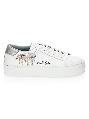 Image of Classic low-top leather sneaker with glitter palm tree motif Leather upper Lace-up vamp Round toe Text at side Leather lining Rubber sole Made in Italy. Women's Shoes - Contemporary Womens Shoe. Chiara Ferragni. Color: White. Size: 37 (7).