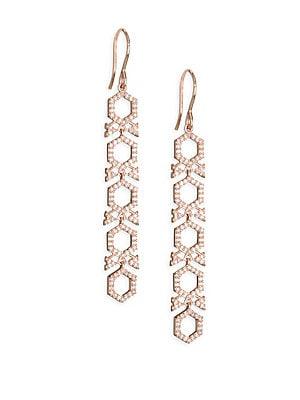 "Image of Diamond honeycomb drop earrings in 14K gold 14K rose gold Diamond, 0.57 tcw Diamond color: HI Diamond clarity: SI2 Width, 0.23"" Drop, 1.77"" Imported. Fashion Jewelry - Modern Jewelry Designers. Astley Clarke. Color: Rose Gold."