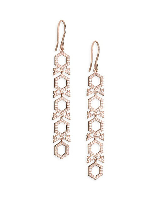 "Image of Diamond honeycomb drop earrings in 14K gold.14K rose gold. Diamond, 0.57 tcw. Width, 0.75"".Drop, 2.25"".Made in Italy."