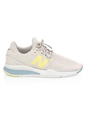Image of Sporty style with a lightweight cozy mesh and suede upper Suede/synthetic mesh upper Lace-up vamp Rubber sole Padded insole Imported. Women's Shoes - Sneakers. New Balance. Color: Moon Beam. Size: 6.