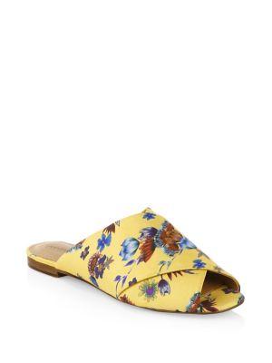 Women'S Anden Floral Crisscross Slide Sandals, Butterscotch Multi Print Silk