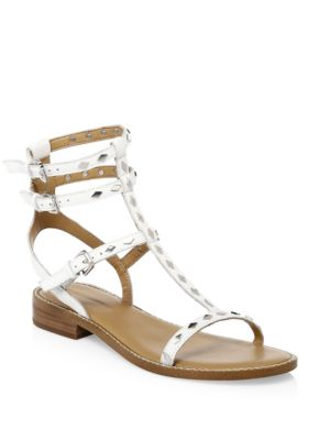 Arella Studded Gladiator Sandals, White