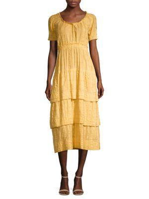 LOVESHACKFANCY Heather Tiered Embroidered Cotton Midi Dress in Yellow
