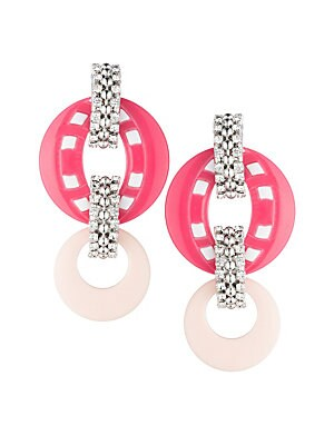 Image of Crystal pavé bars link sculpted openwork earrings Czech crystals Acrylic Brass-plated silver Length, 2.5 Post back Imported. Fashion Jewelry - Trend Jewelry. Dannijo. Color: Pink.