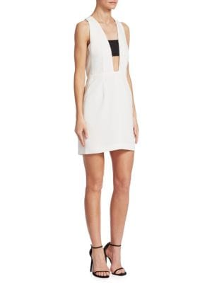Izzy Sleeveless Contrast Sheath Dress, White