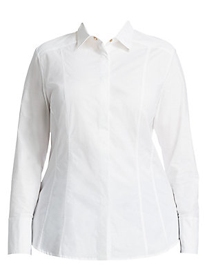 """Image of Tailored cotton dress shirt finished with seamed detail. Point collar Long sleeves Button cuffs Concealed button front Cotton Dry clean Made in Italy SIZE & FIT About 25"""" from shoulder to hem. Salon Z - Rinaldi Salon Z > Saks Fifth Avenue. Ashley Graham x"""