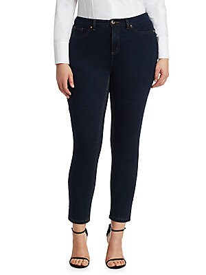 "Image of Stretch denim jeans in a slim cut. Five-pocket style Button closure Zip fly Belt loops Cotton/elastane Machine wash Made in Italy SIZE & FIT Inseam, about 28"". Salon Z - Rinaldi Salon Z. Ashley Graham x Marina Rinaldi. Color: Dark Navy. Size: 10W."