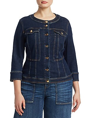 "Image of Cinched-waist silhouette on denim jacket made to accentuate curves Roundneck Three-quarter sleeves Button cuffs Button front Chest button flap pockets About 23"" from shoulder to hem Cotton Dry clean Made in Italy. Salon Z - Rinaldi Salon Z > Saks Fifth Av"
