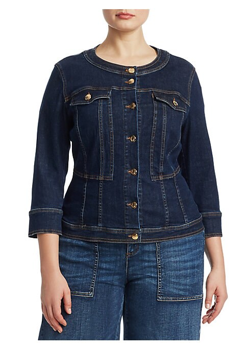 """Image of Cinched-waist silhouette on denim jacket made to accentuate curves. Roundneck. Three-quarter sleeves. Button cuffs. Button front. Chest button flap pockets. About 23"""" from shoulder to hem. Cotton. Dry clean. Made in Italy."""