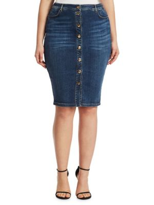 ASHLEY GRAHAM X MARINA RINALDI Capania Knee-Length Denim Skirt in Sky Blue