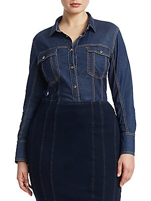 "Image of Denim shirt receives a bodysuit recreation. Spread collar Long sleeves Snap cuffs Snap front Chest snap flap pockets Cotton/denim Dry clean Made in Italy SIZE & FIT About 24"" from shoulder to hem. Salon Z - Rinaldi Salon Z > Saks Fifth Avenue. Ashley Grah"