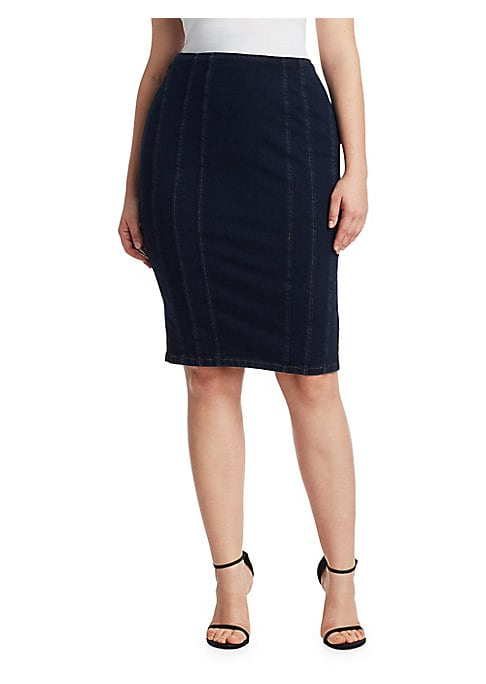 """Image of Classic denim skirt with exposed stitching. Back zip closure. Back vent. About 25"""" long. Jersey/polyester. Dry clean. Made in Italy."""