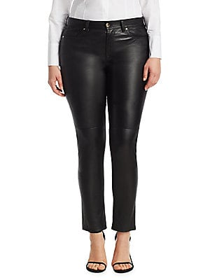 "Image of Stretchy leather pants in a minimalist sheen design. Belt loops Button closure Zip fly Five-pocket style Polyamide Machine wash Made in Italy SIZE & FIT Rise, about 9"" Inseam, about 27"". Salon Z - Rinaldi Salon Z. Ashley Graham x Marina Rinaldi. Color: Bl"