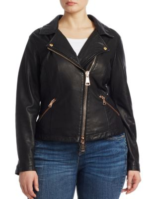 ASHLEY GRAHAM X MARINA RINALDI Ebanista Leather Biker Jacket in Black