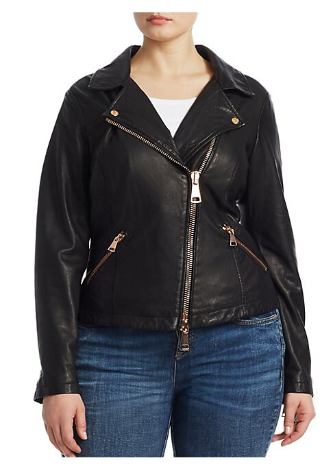 """Image of Edgy motorcycle jacket crafted from soft leather. Notched lapel with button detail. Long sleeves. Zipper cuffs. Side zipper pockets. Zipper front. Leather. About 24"""" from shoulder to hem. Dry clean. Made in Italy."""