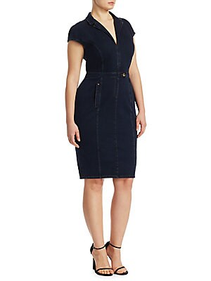 """Image of Denim dress in a form-fitting sheath silhouette. Notch lapels Cap sleeves Front tab-button waist closure Waist welt pockets Back vent Jersey/denim Machine wash Made in Italy SIZE & FIT About 28"""" from shoulder to hem. Salon Z - Rinaldi Salon Z. Ashley Grah"""