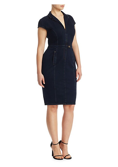 """Image of Denim dress in a form-fitting sheath silhouette. Notch lapels. Cap sleeves. Front tab-button waist closure. Waist welt pockets. Back vent. About 28"""" from shoulder to hem. Jersey/denim. Machine wash. Made in Italy."""