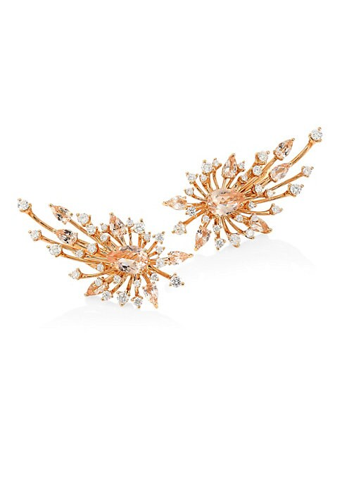 """Image of From the Luminus Collection. These earrings' structural filigree embellishments resemble regal phoenix wings. Morganite. White diamonds, 1.62 tcw. Diamond clarity, VS. Diamond color, G-H.18K yellow gold. Post back. Imported. SIZE. Length, 1.5""""."""