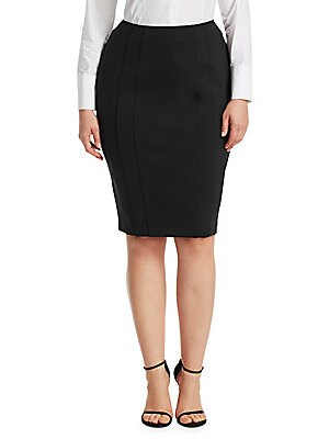 "Image of Streamlined monochrome stretch-cotton skirt in seamed detailing. Back zip closure Cotton/elastane Dry clean Made in Italy SIZE & FIT About 29"" long. Salon Z - Rinaldi Salon Z. Ashley Graham x Marina Rinaldi. Color: Black. Size: 12W."