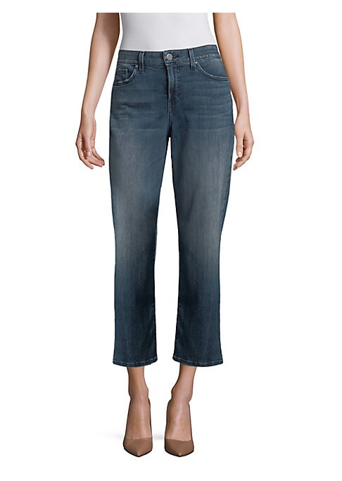 """Image of Relaxed fit straight jeans with flattering crop length. Belt loops. Five-pocket style. Zip fly with button closure. Crop silhouette. Leg opening, about 16"""".Rise, about 10"""".Inseam, about 27"""".Cotton/elastomultiester/elastane. Machine wash. Made in USA. Mode"""