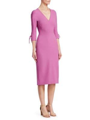 dd3c10cf23 Lela Rose Stretch-Wool Bow-Sleeve Sheath Dress In Orchid ...