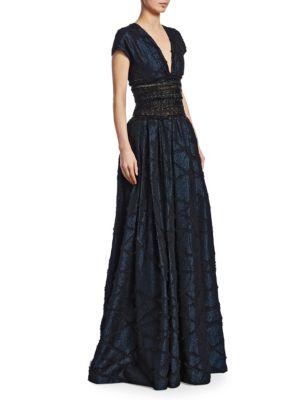 Naeem Khan Metallic Embroidered-Waist Ball Gown
