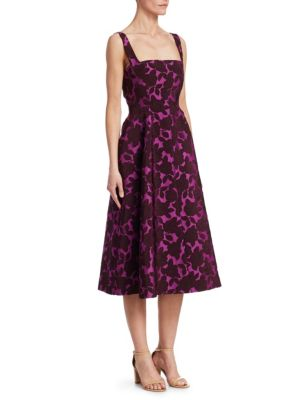 LELA ROSE Square-Neck Sleeveless Floral-Jacquard Fit-And-Flare Dress in Pink