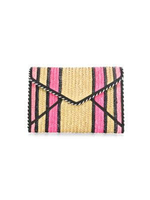 Leo Straw Envelope Clutch Bag, Pink Multi