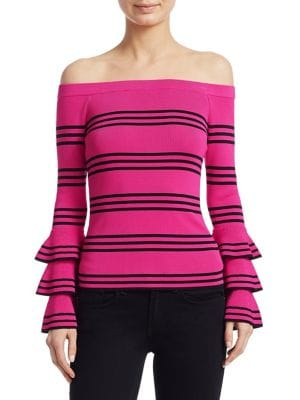 Scripted Ruffle Off-The-Shoulder Sweater