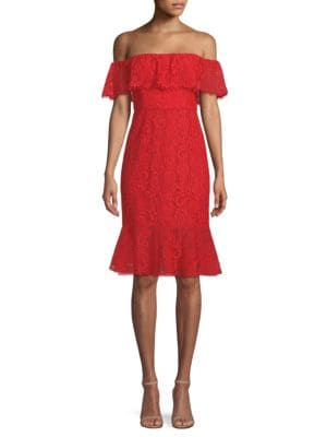 BCBG MAX AZRIA Off-The-Shoulder Lace Dress in Burnt Red