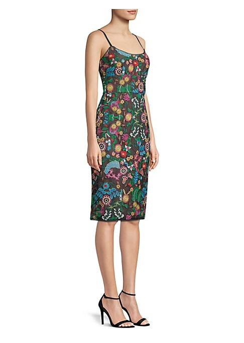 "Image of A colorful pastoral lace makes this fitted dress playful. Scoopneck. Spaghetti straps. Concealed back zip with hook-and-eye closure. Lined. About 34.75"" from shoulder to hem. Polyester. Hand wash. Imported. Model shown is 5'10"" (177cm) wearing US size 4."