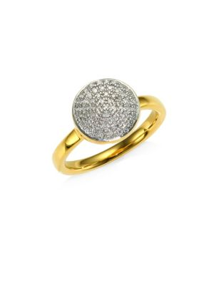 Fiji Diamond & Sterling Silver Large Button Ring in Rose Gold
