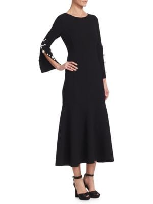 Jewel-Neck Long-Sleeve Wool Tea-Length Cocktail Dress With Pearlescent Trim in Black