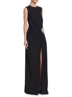 Jewel-Neck Sleeveless Gathered Column Evening Gown W/ Crystal-Brooch, Black