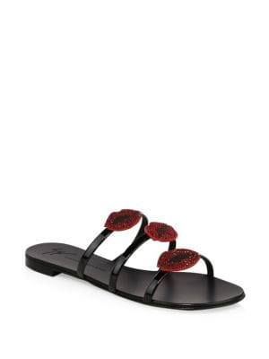 - Patent Leather Flat Sandal With 'Bouche' Anya Bouche, Black