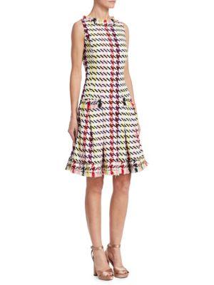 OSCAR DE LA RENTA Sleeveless Multi-Check Silk Dress W/ Tweed Trim in Multicolour