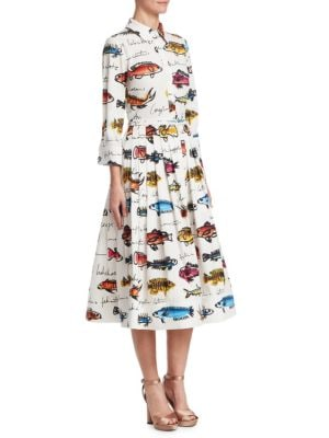 3/4-Sleeve Fish-Print Cotton Shirtdress W/ Pleated Skirt in White
