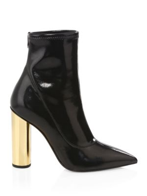 Crudelia Patent-Leather Ankle Boots, Black